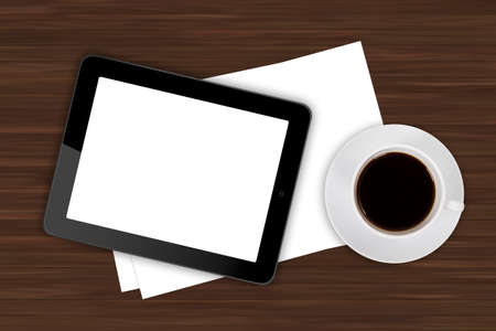 Top view of business workplace, digital tablet with white blank empty screen and cup of black coffee drink on wooden office table. photo