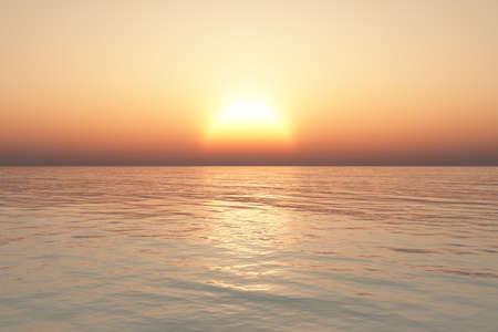 cielo despejado: Puesta de sol en el mar con el cielo claro.