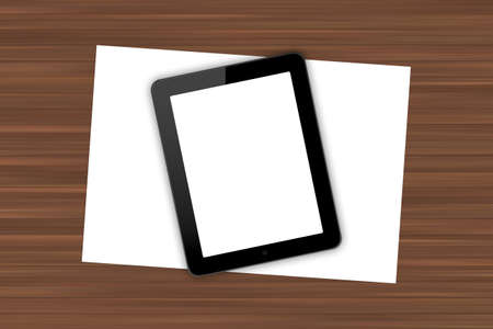 Top view of workplace with blank white screen digital tablet and paper sheet on wooden table. photo
