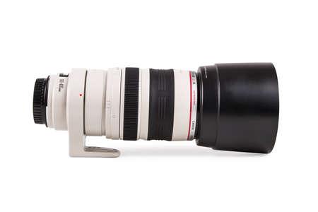 tele: ISTANBUL, TURKEY - MAY 19, 2014: Photo of Canon 100-400 tele zoom lens, isolated on white background.