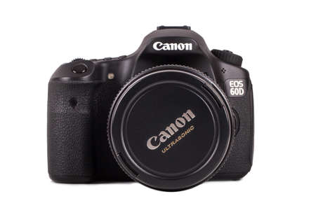 ISTANBUL, TURKEY - MAY 19, 2014: Front view of Canon 60D camera, isolated on white background.