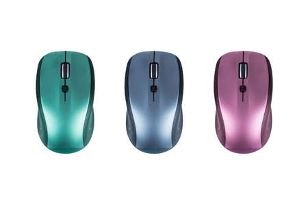 computer accessory: Colorful variations of wireless desktop computer mouses, isolated on white background. Stock Photo