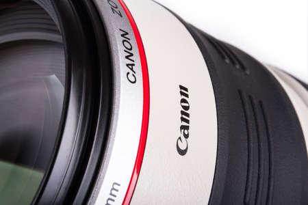 ISTANBUL, TURKEY - MAY 19, 2014: The logo of Canon on lens. Stock Photo - 29853107