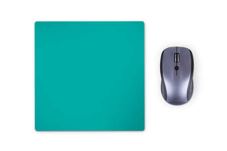 mouse pad: Wireless computer mouse with green pad, isolated on white background.