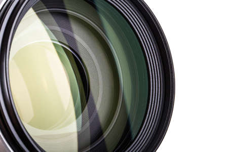 Close up view of professional photograph camera lens, isolated on white background. Stock Photo - 29865588