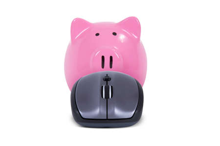 Computer mouse and pink piggy bank, isolated on white background. photo