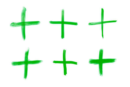 green plus: Variations of green plus symbols for mathematic operations, isolated on white background.