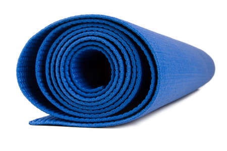 closed club: Side view of blue rolled fitness mat, isolated on white background.
