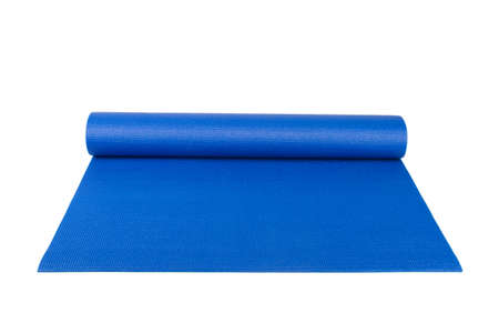 Front view of blue rolled yoga, pilates or fitness mat for exercise, isolated on white background. photo