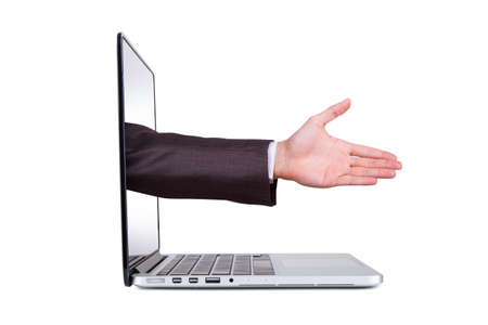 electronic voting: Side view of laptop and hand coming out from blank screen for hand shake, approve or celebrate, isolated on white background.
