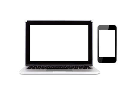 Front view of high quality laptop and smart phone with blank, empty screens for your design, isolated on white background.
