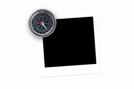 Blank, black picture frame with compass, isolated on white background. photo