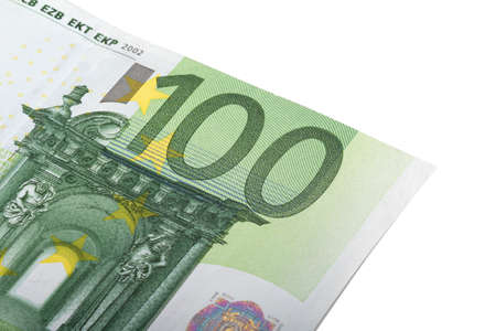 one hundred euro banknote: Close up view of one hundred euro money banknote., isolated on white background. Stock Photo