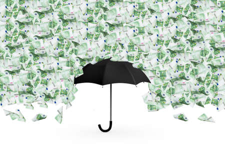 european money: One hundred euro money banknotes flying and raining on black umbrella, isolated on white background.