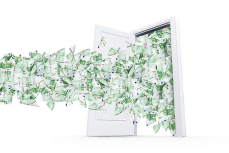 household money: One hundred euro banknotes flying and streaming on windy air out of open real estate door, isolated on white background. Stock Photo