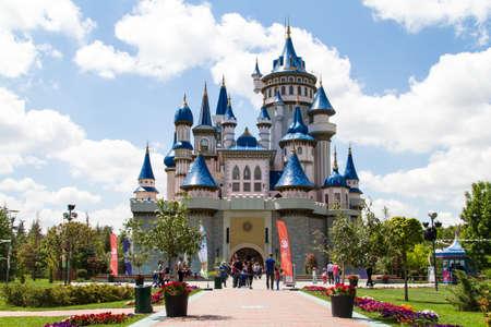 ESKISEHIR, TURKEY - MAY 25, 2014: Fairytale castle in Sazova Park, Eskisehir.