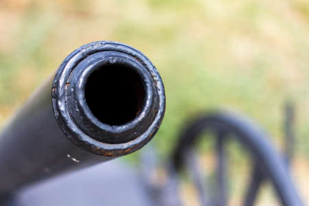 cannon gun: Front view of field gun, cannon, battle and war equipment.