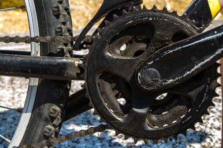 close up view: Close up view, part of bicycle. Stock Photo