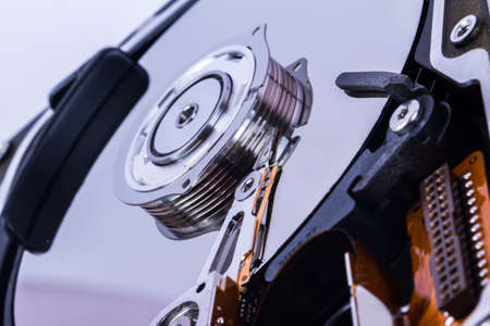 Close up view of hard disk. photo