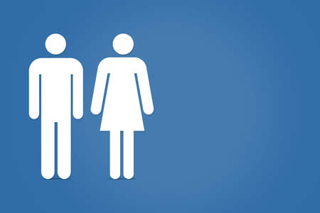 adult male: Drawiing of adult male and female icons on blue background.