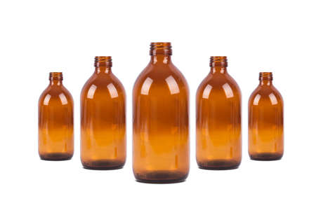 antibiotic pill: Empty brown medical  pill bottles with front view, isolated on white background.