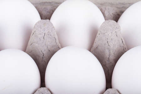 front view: Six white eggs in carton with detailed front view. Stock Photo