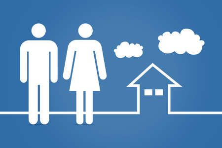 adult male: Family concept, adult male and female icons with cloud and house drawing on blue background.