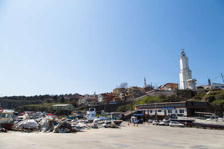 rumeli: ISTANBUL, TURKEY - APRIL 12, 2015: Outside view of Rumeli Lighthouse built in 1856 by French people.