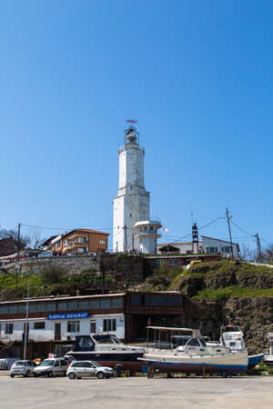 rumeli: ISTANBUL, TURKEY - APRIL 12, 2015: Outside front view of Rumeli Lighthouse built in 1856 by French people. Editorial