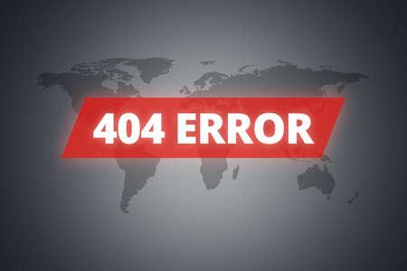 error message: 404 error message on technological screen on dark world map background. Stock Photo