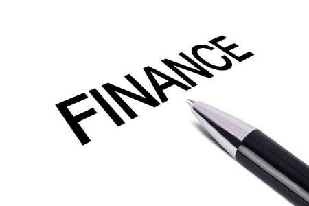 writing black: Finance text writing, black pen, isolated on white background. Stock Photo