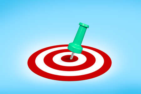 dart on target: Close up front view of dart target aim with successful shot, on blue background.