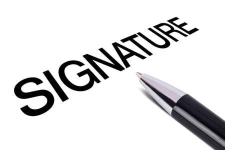 writing black: Signature text writing, black pen, isolated on white background. Stock Photo