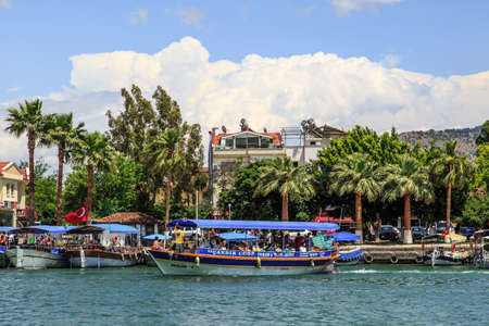 mugla: DALYAN, TURKEY - MAY 31, 2015 : Boats for touristic boat trips in the river between Koycegiz Lake and Iztuzu Beach in Dalyan. Editorial