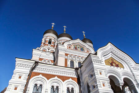 Bottom view of Alexander Nevsky Cathedral which is the grandest orthodoxy cathedral in Tallinn Estonia, on navy blue background.