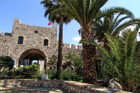 mugla: MUGLA, TURKEY - JUNE 1, 2015 : Front view of the door of historical Marmaris Tower. Editorial