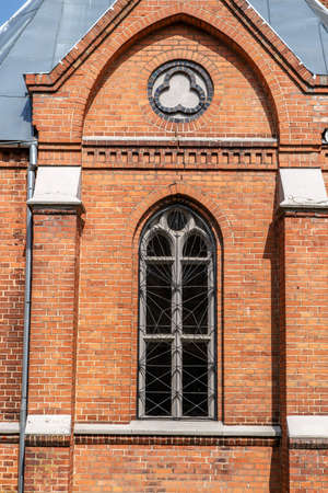 evangelical: Closeu up front view of  Evangelical Lutheran Marthin Luther Cathedral in Dougavpils, Latvia.