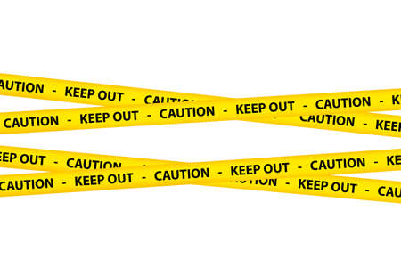 keep out: Yellow caution tape strips with text of keep out and caution, isolated on white background.