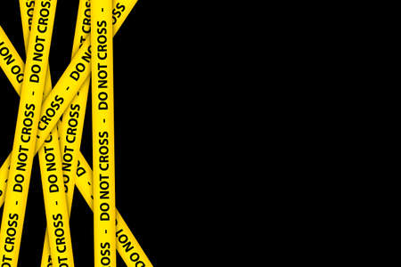 barrier tape: Yellow caution tape strips with text of do not cross, on black background.
