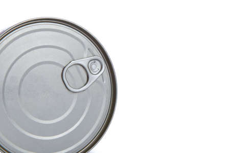 ring pull: Close up detailed top view of metal grey tin can with ring pull, isolated on white background.
