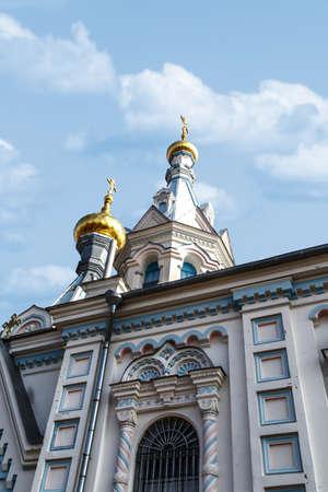 boris: view of Orthodox Ss Boris and Gleb Cathedral in Dougavpils, Latvia, on blue sky background.