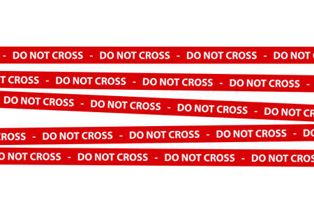 illustrates: Red caution tape strips with text of do not cross, isolated on white background.