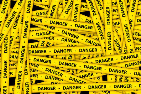 Yellow caution tape strips with text of danger, on black background.