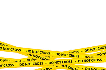 danger do not cross: Yellow caution tape strips with text of do not cross, isolated on white background. Stock Photo