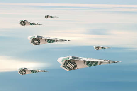 Flying paper planes with dollar banknotes, on blue cloudy sky background. Archivio Fotografico