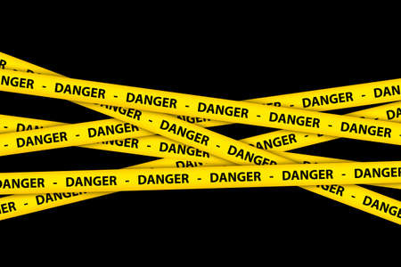 keep out: Yellow caution tape strips with text of danger, on black background.