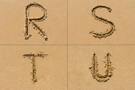 Conceptual set of R S T U letter of the alphabet written on sand with upper case.