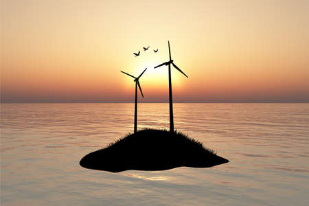 high sea: Front silhouette view of high windmill energy turbine on a hill inside lake or sea, on sunset or sunrise background.
