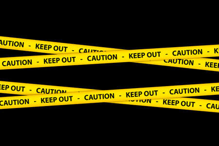 keep out: Yellow caution tape strips with text of keep out and caution, on black background. Stock Photo
