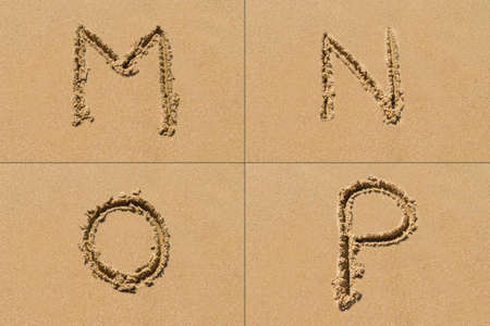 Conceptual set of M N O P letter of the alphabet written on sand with upper case.